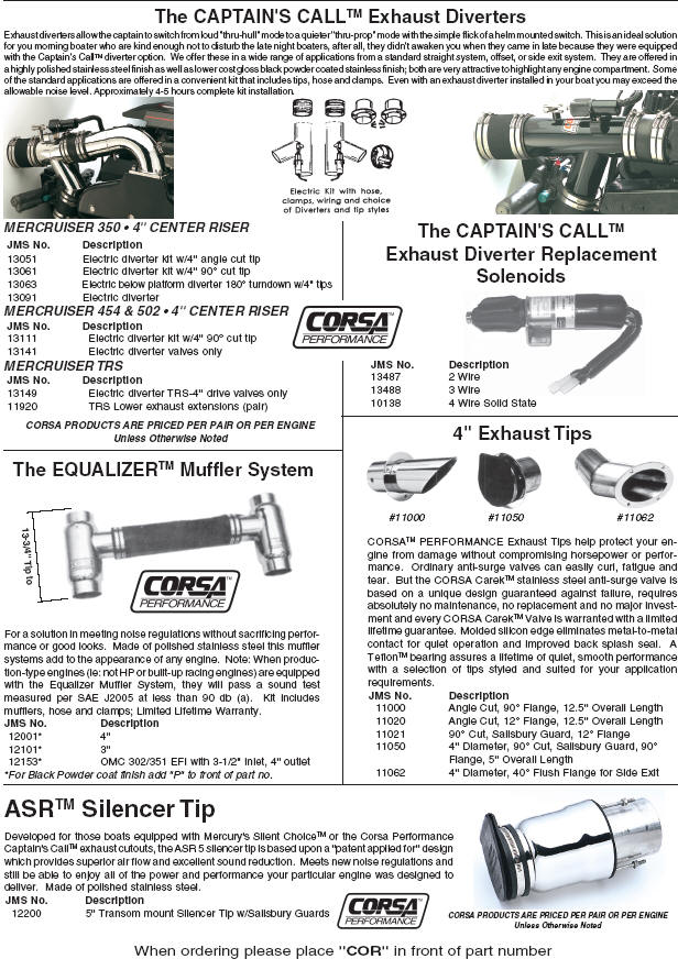 mpf324 corsa captain's call exhaust diverters corsa marine exhaust wiring diagram at crackthecode.co