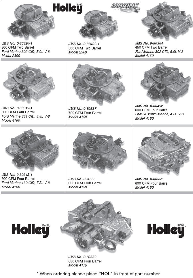 Old Holley Carburetor List Numbers