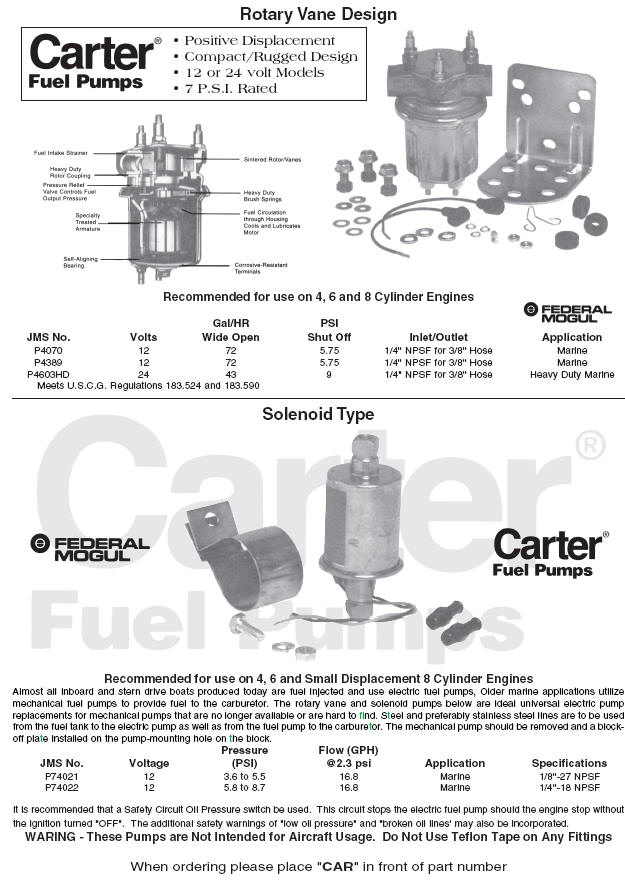 Carter Marine Electric Fuel pumps Solenoid and Rotary Design on fuel pump relay wiring diagram, pump pressure switch wiring diagram, electric heat pump wiring diagram,