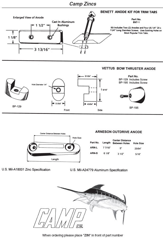 Marine zincs bennett trim tab vettus bow thruster arneson outdrive