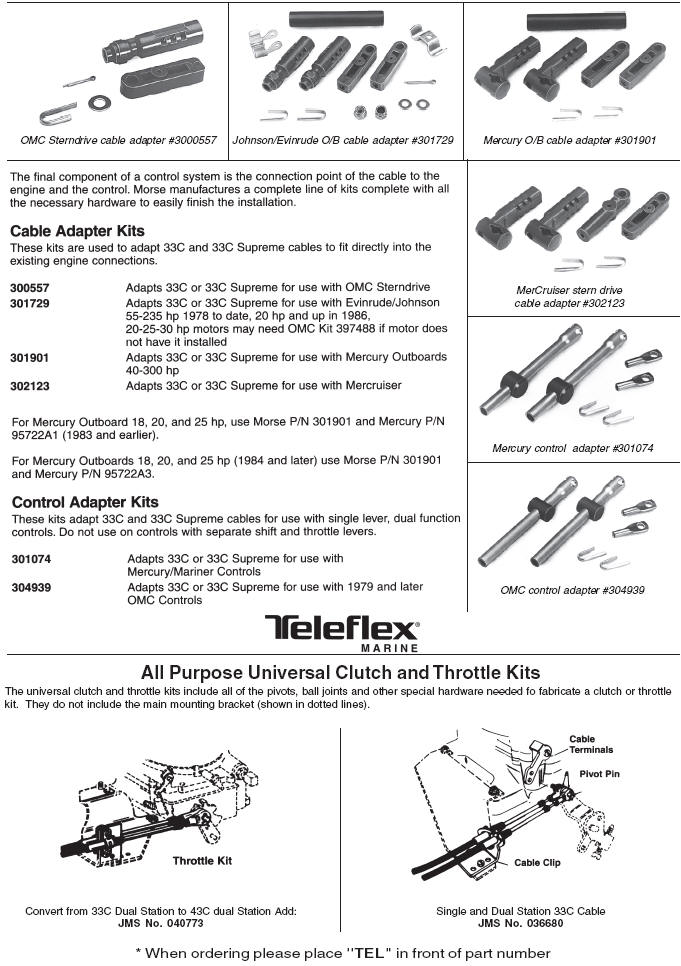 Teleflex Marine Control Cables Engine Connection Kits And
