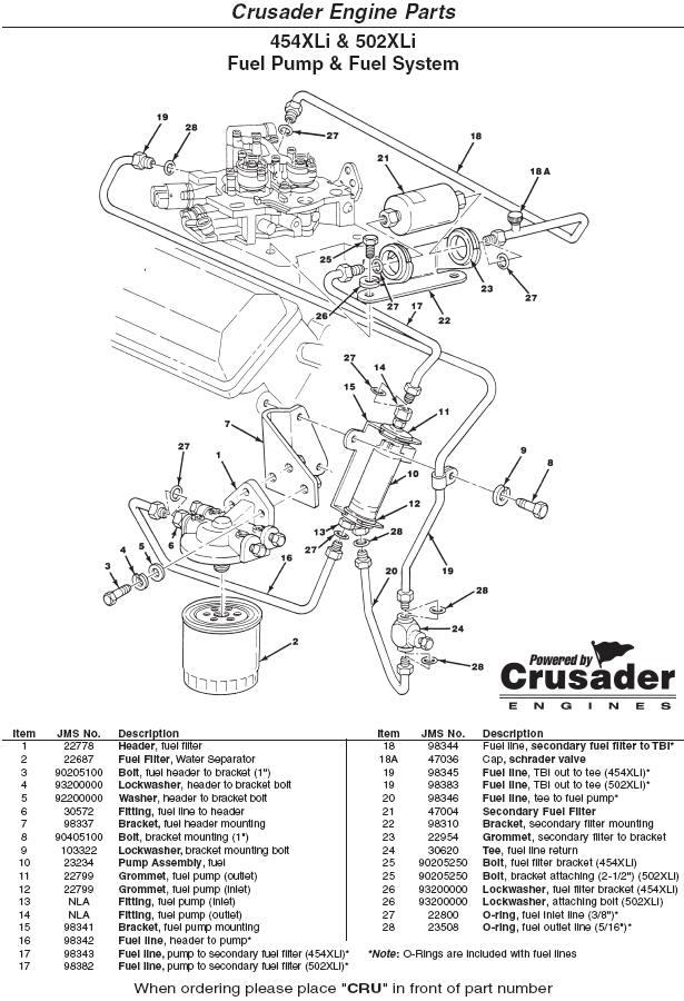 Crusader Engine Parts 454xli 502xli Fuel Pump