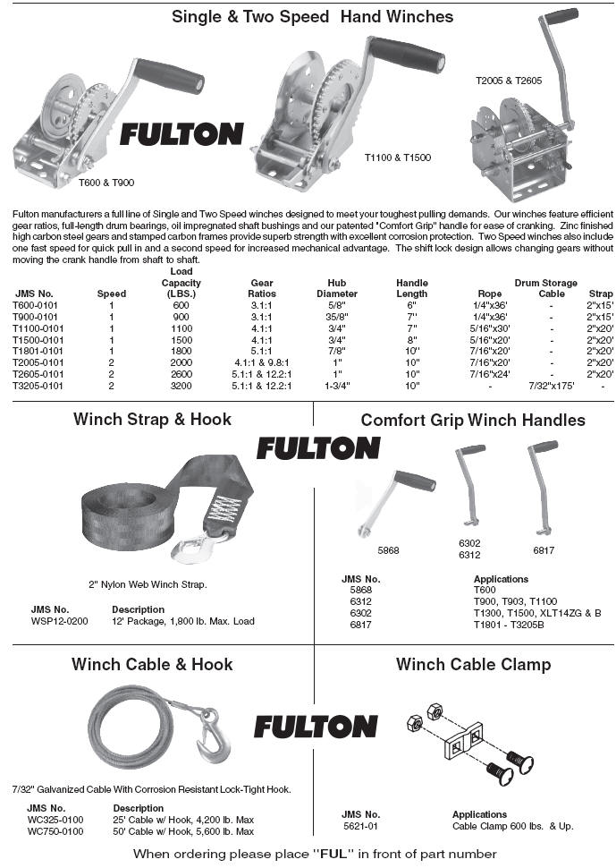 Boat Trailer Fulton Single And Two Speed Manual Winches